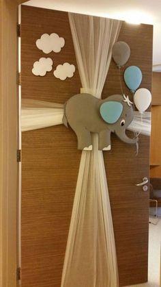 Elephant door hanger www. Pookie would like this! - Kinder Dekoration - Elephant door hanger www. Pookie would like this! Baby Shower Parties, Baby Shower Themes, Baby Boy Shower, Baby Shower Gifts, Baby Bedroom, Baby Boy Rooms, Kids Rooms, Kids Room Art, Nursery Room
