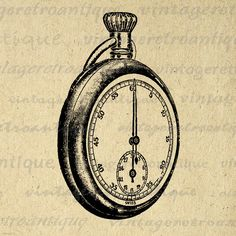 Antique Pocket Watch Digital Image Download Printable Graphic Vintage Clip Art. High quality printable digital image download from antique artwork for making prints, iron on transfers, and more great uses. Personal or commercial use. This digital graphic is large and high quality, size 8½ x 11 inches. Transparent background version included with every digital image.