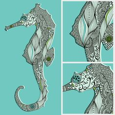 Hand drawn, heavily patterned seahorse illustrations.
