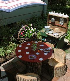 ein selbstgebauter matschtisch f r kinder mit anleitung kinder garten pinterest. Black Bedroom Furniture Sets. Home Design Ideas