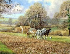 Ploughing in Autumn by Spencer Coleman - Best Jigsaw, Clydesdale Horses, Old Cottage, Halcyon Days, Farm Art, River Bank, Vintage Farm, Horse Drawn, Old English