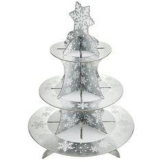 Silver Snowflake Cupcake Stand | Poundland
