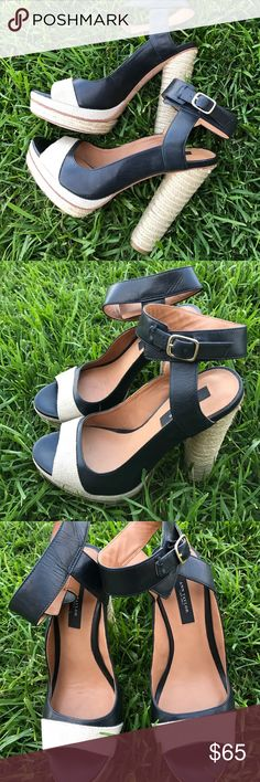 Ann Taylor black leather & jute heel sandals 7 EUC Ann Taylor black leather & sisal jute heels. These are gorgeous heels in excellent condition. Has a platform to make them easier to wear. Size 7 Ann Taylor Shoes Heels