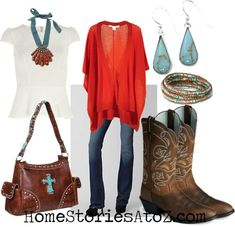 fall outfit - jeans with brown cowboy boots, red sweater, and turquoise jewelry. color combo. Maybe not the purse or necklace.. by rhea