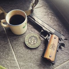 Guns 'n Coffee KJW M1911A1 GBB with wooden handgrip made by Yogyakarta craftsman.
