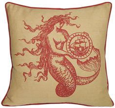 mermaid linen pillow by kevin o'brien - coral