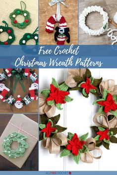 Thanks to these 25+ Free Crochet Christmas Wreath Patterns and Decorations that are simple and stunning, your holiday season will be warm, cheerful, and fully decorated. Crochet Christmas Wreath, Crochet Wreath, Crochet Christmas Decorations, Homemade Christmas Decorations, Homemade Christmas Gifts, Handmade Decorations, Christmas Wreaths, Christmas Crafts, Xmas
