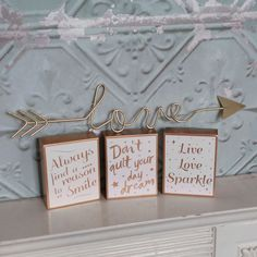 Set Of 3 Chloe Gold & White Inspirational Block Signs