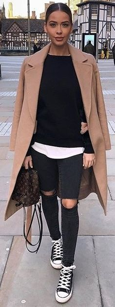 #spring #outfits black sweater, ripped black jeans, converse, brown coat