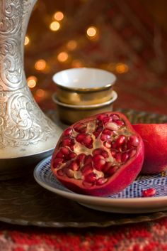 Pomegranate with a cup of tea. I miss Ramadan.