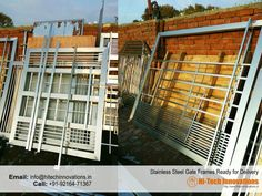 Stainless Steel Gate Frames Ready For Delivery at our factory Grill Gate Design, House Main Gates Design, Steel Gate Design, Cast Iron Railings, Cast Iron Gates, Wrought Iron Gates, Stainless Steel Stair Railing, Stainless Steel Gate, Steel Stairs