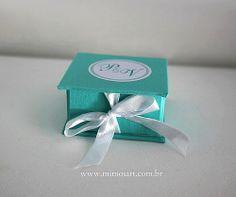 Caixinha Azul Tiffany para lembrancinha de Casamento e 15 anos.Gift Weending www.mimosart.com.br