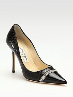Jimmy Choo - Bell Snakeskin & Patent Leather Pumps - Saks.com - StyleSays