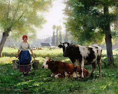 Painting Title: The Milk Girl, undated | Artist: Julien Dupre (1851-1910) | Medium: Fine Art Painting Reproduction by TOPofART.com