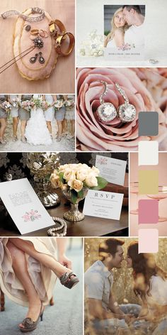 Romantic Pink, Gray, and Gold Wedding Inspiration...so soft and elegant. Love!