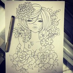"""Drawn for someone that ended up changing ideas. Based heavily on the style of Audrey Kawasaki, details can be changed to suit the customer.  This piece is available to be tattooed, if you'd like to take it, please call Classic Tattoo (804)-264-8002 ***I can not """"hold"""" the design, first call, first serve!! ***"""