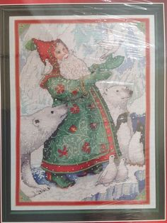 Santa With Doves Counted Cross Stitch Kit Lynn Bywaters Christmas Polar Bears #DesignsForTheNeedle #Frame