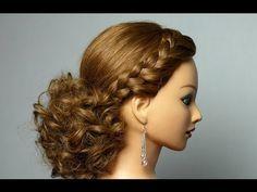 Романтическая прическа с плетением для длинных волос. Romantic hairstyle with braids - YouTube