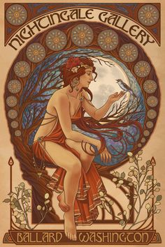 Woman and Bird - Art Nouveau - Lantern Press ArtworkQuality Poster Prints Printed in the USA on heavy stock paper Crisp vibrant color image that is resistant to fading Standard size print, ready for framing Perfect for your home, office, or a gift Motifs Art Nouveau, Art Nouveau Mucha, Art Nouveau Tattoo, Design Art Nouveau, Alphonse Mucha Art, Art Nouveau Poster, Poster Art, Kunst Poster, Poster Prints