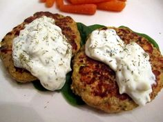 Salmon and Quinoa Cakes with a yogurt dill sauce. The Shepwell Kitchen. I might try quinoa for this.
