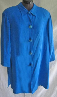 2X Plus Size Tunic Jacket NOS Deadstock Cobalt Silk Swing Retro 40 Inspired