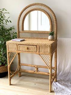 Wooden Vanity, Wooden Drawers, Dresser Vanity, Vanity Decor, Living Room Decor, Bedroom Decor, Bedroom Ideas, Home Clock, Vintage Dressers