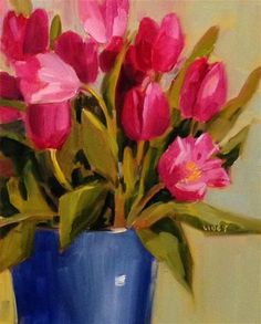 """Daily Paintworks - """"Tulips and Blue"""" - Original Fine Art for Sale - © Libby Anderson"""