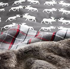 RH Moose Flannel & Lodge Plaid Bedding Collection: Our European flannel bedding, loomed in Portugal from pure cotton, features a stylized moose pattern that lends modern appeal to an iconic symbol of the great outdoors. Winter Bedroom, Winter Bedding, Christmas Bedroom, Moose Decor, Plaid Bedding, Plaid Decor, Fall Plaid, Plaid Flannel, Rustic Cabin Decor