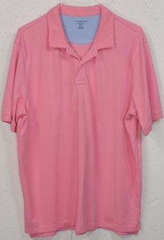 Lands End Traditional Fit Mens Pink Pique 100%Cotton Short Sleeve Polo Shirt XLT #LandsEnd #PoloRugby