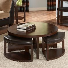 Homelegance Brussel II Round Brown Cherry Wood Coffee Table with 4 Ottomans
