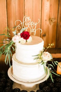 """Wedding cake, red and pink roses, """"Oh Happy Day"""" cake topper, romantic wedding reception, repin to your own inspiration board // Naomi Wong Photography"""