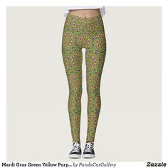 Mardi Gras Green Yellow Purple Pattern Mandala Leggings - Printed #Yoga #Leggings & Running Tights Creative Workout and #Gym #Fashion Designs From International Artists - #pilates #exercise #crossfit #workout #tights #running #sports #design #fashiondesign #designer #fashiondesigner #style #pants