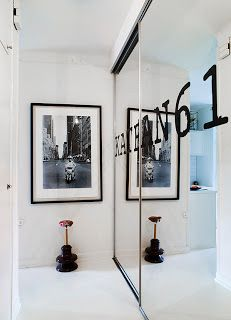 compact studio apartment, styled by Swedish decorator Jimmy Schönning #hallway #storage #wardrobe