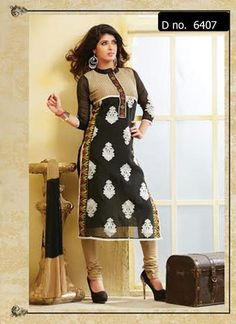 Beautifully designed cotton Straight cut Salwar Suit Black and Beige with beautiful embroidery work done. Comes along with Matching Cotton Bottom and Chiffon Duppatta.