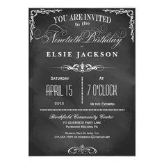 70th birthday party invitations wording crafts pinterest 90th birthday chalkboard typography party invite filmwisefo