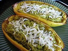 Pesto Spaghetti Squash - 7 Delicious Spaghetti Squash Recipes ... [ more at http://food.allwomenstalk.com ] This healthy and simple recipe is great if you have some pesto left in your kitchen! Plus, reusing the shells of the squash makes for a great festive bowl! This recipe can either be used as a meal in itself or just a side dish, but either way it's delicious and healthy!... #Food #Cheese #Pasta #Red #Dinners #Neufchatel