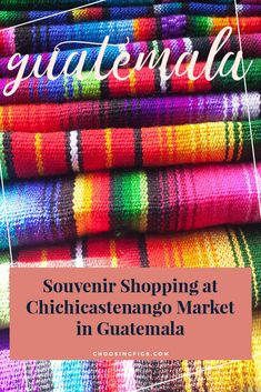 Looking for the perfect Guatemalan souvenir? Every Thursday and Sunday, Chichicastenango hosts the biggest market in Guatemala. Located just a few hours outside of Antigua, it's perfect for souvenir shopping in Guatemala. Road Trip, Hispanic Culture, Guatemala City, Travel Souvenirs, South America Travel, Amazing Destinations, Travel Around The World, Traveling By Yourself, Travel Inspiration