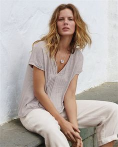 Poetry - Pintuck jersey top - A lovely alternative to a T-shirt, this pure linen top has pretty tucked details that run from the v-neckline to the hem. With tiny turned back capped sleeves and a slightly swingy hemline. 100% linen