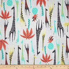 Michael Miller Migration Giraffes Coral Fabric By The Yard
