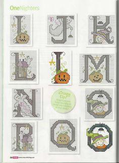 Cross Stitch Crazy 155 in October 2011 - Halloween alphabet, pin 2 of 3