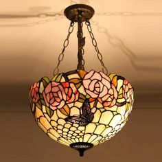 Tiffany Flush Mount Lamp with Butterfly Design