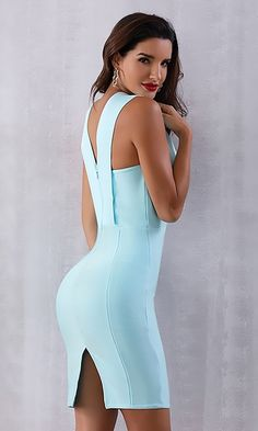 Teasing You Sky Blue Sleeveless Plunge V Neck Bodycon Bandage Mini Dre – Indie XO