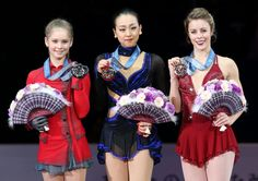 Lovely Mao Asada ー in the center of the podium, winning her 4th GPF Championship title \(^_^)/(o^-')b ! Smiles from the medalists in the podium~ the 2013 Grand Prix Final Medalists posing for the Photographers with medals hanged on their necks from Left ーto→Right: Yulia Lipnitskaya ー Russia (2nd place), Mao Asada ー Japan (1st place), and Ashley Wagner ーUSA (3rd place). . Held at Marine Messe, Fukuoka; December 7, 2013. ーーーーーーーーーーーーーーーーーーーーーーーーーーーーーーーー #MaoAsada #GrandPrixFinal #2013 #GPF…