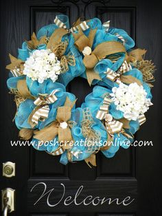 Beach Theme Wreath, Summer Wreath,  Summer Mesh Wreath, Burlap Wreath, Beach Wreath, Deco Mesh Wreath, Summer Blue, Custom initial Monogram on Etsy, $99.99