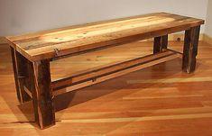 Reclaimed Wood Rustic Heritage Cross Cut Bench by MistyMtnFurn