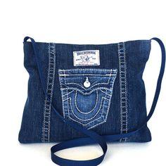 Sac bandoulière recyclé sac de côté jean bleu sac denim