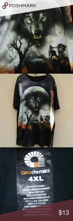 """Akademiks """"Spirit of the wolf"""" shirt Has a small hole and some green spots as seen in the last 2 pictures. Both not noticeable when wearing. 4XL Akademiks Shirts Tees - Short Sleeve"""