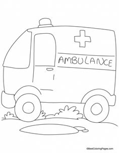 Ambulane Van Coloring Page