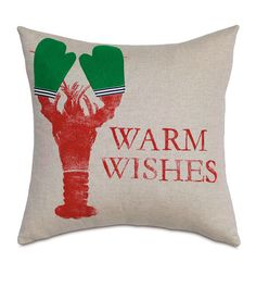 Holiday Lobster from Eastern Accents, lobster christmas pillow