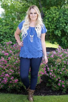 Blue Lace Front Floral Tunic